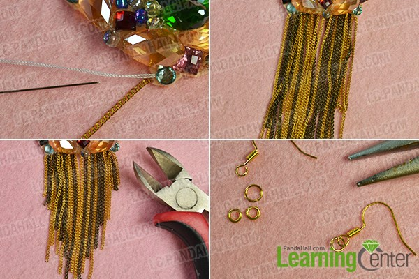Add several pieces of twisted chains to the bead pattern