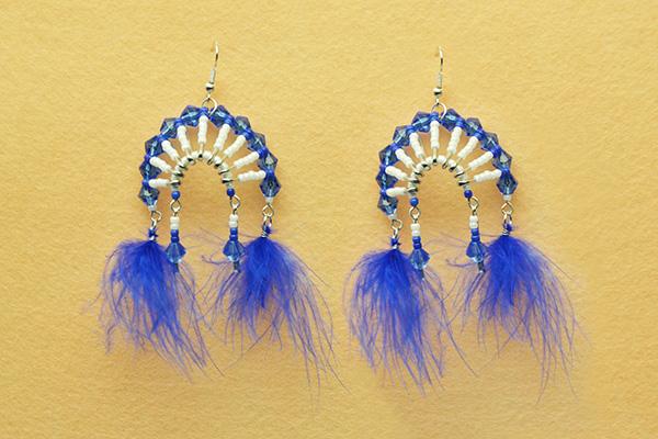 final look of the tribal style chandelier earrings