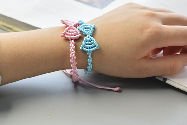 final look of the pink and blue nylon thread butterfly bow friendship bracelets