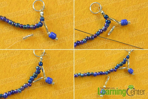 make the rest part of the homemade blue seed beaded anklet