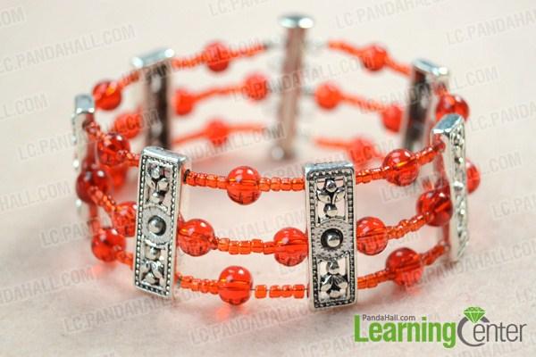 Finish multi strand beaded bracelet