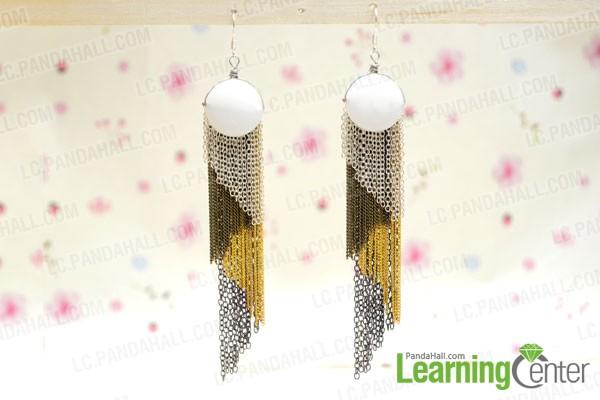 finished Diagonal Chain Fringe Earrings