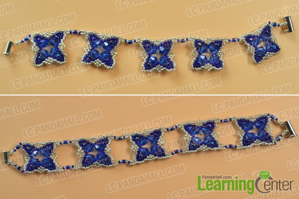 make the rest part of the blue glass and seed bead bracelet