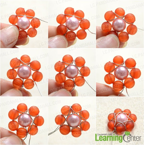 wrap the beads two by two with wire
