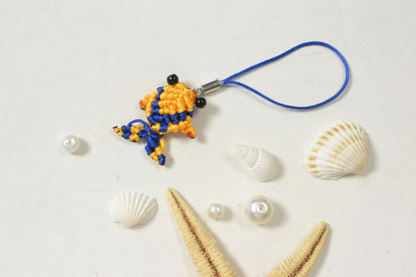 final look of the yellow thread woven fish hanging ornament