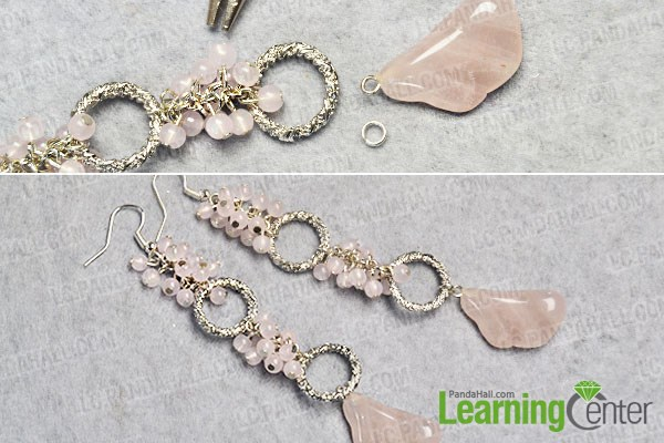 Finish the pink bead cluster dangle earrings