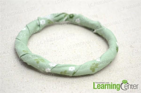 Finish the fabric covered bangle bracelet