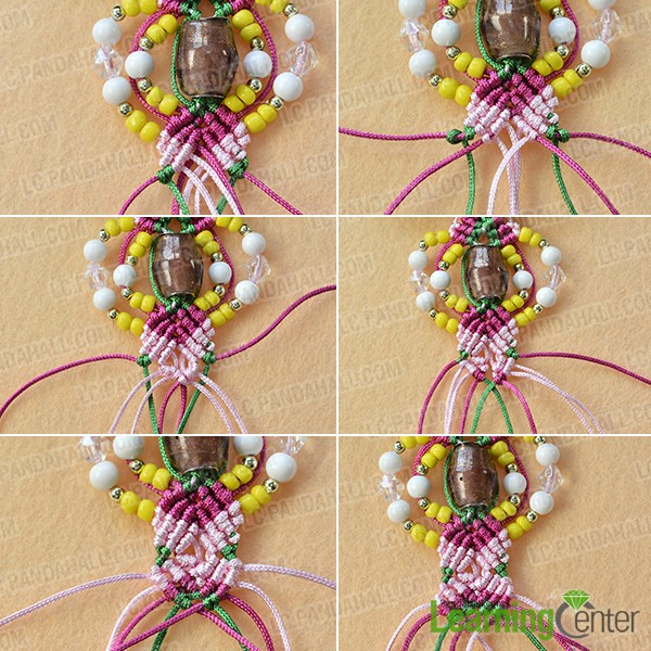 make the fourth part of the thread braided earrings