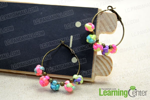 finished Chinese button knot earrings