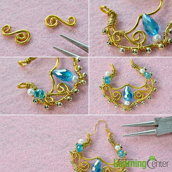 Complete the glass bead earrings