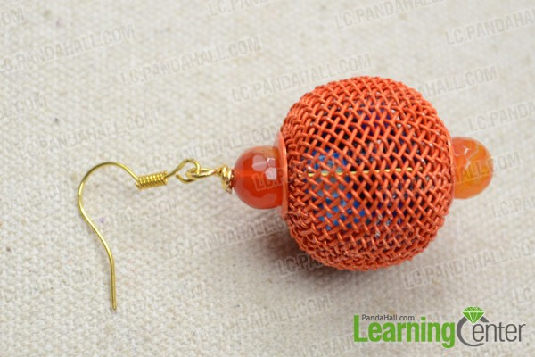 attach earring hook onto the ball dangle