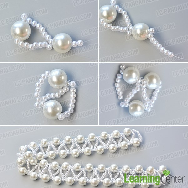 Step 2: Continue to finish these beaded patterns of this pearl bead necklace