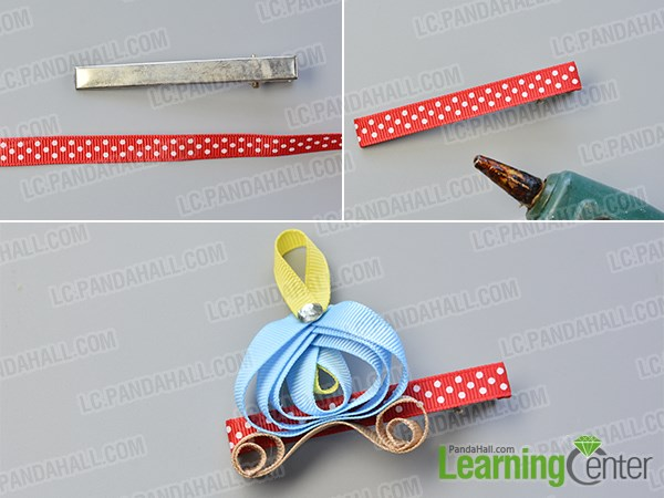 Finish the pumpkin car ribbon hair clip