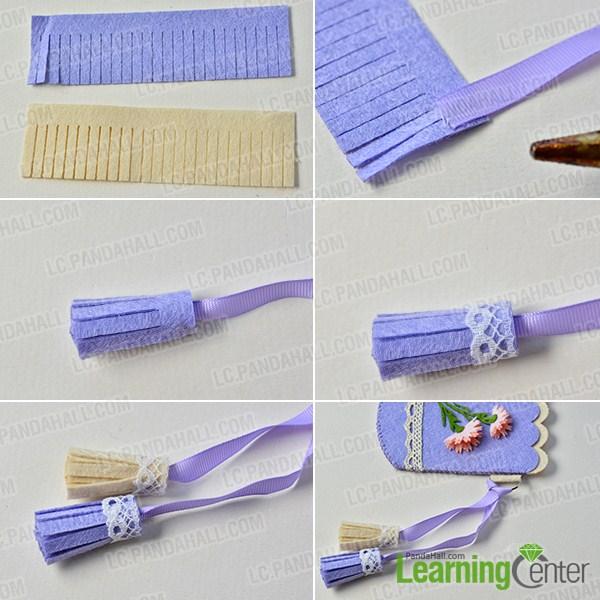 make the rest part of the handmade purple felt purse