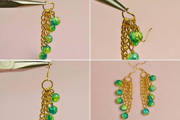 Step 2: Finish these beaded dangle earrings
