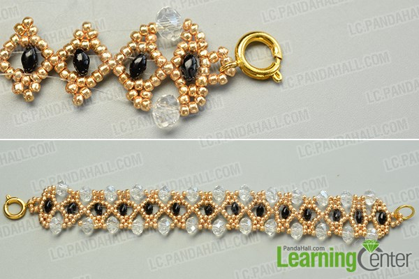Add crystal glass beads to the bead pattern