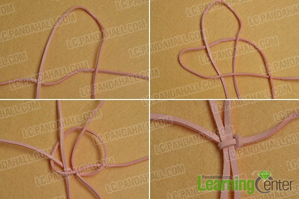 make a square knot with the working wool cord