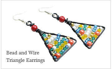 Bead and Wire Triangle Earrings