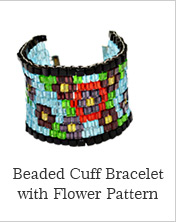 Beaded Cuff Braceletwith Flower Pattern