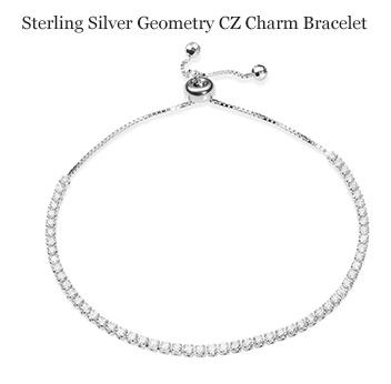 Sterling Silver Geometry CZ Charm Bracelet