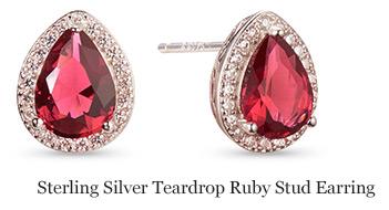 Sterling Silver Teardrop Ruby Stud Earring