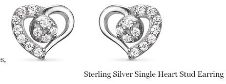 Sterling Silver Single Heart Stud Earring