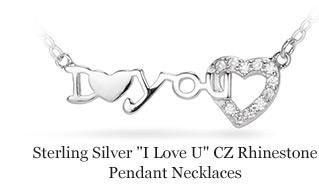 "Sterling Silver ""I Love U"" CZ Rhinestone Pendant Necklaces"