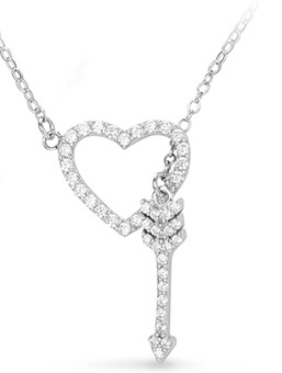 Rhinestone Heart and Arrow Pendant Necklace for Couples & Lovers