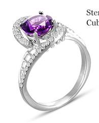 Sterling Silver Amethyst & Cubic Zirconia Ring