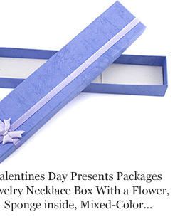 Valentines Day Presents Packages Jewelry Necklace Box With a Flower, Sponge inside, Mixed-Color, about 20cmx4cmx2cm