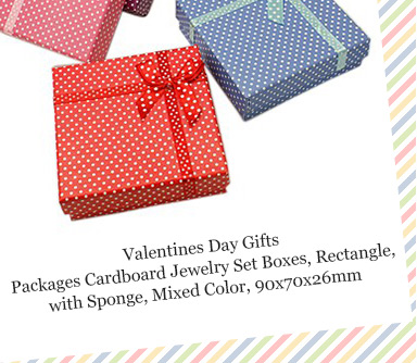 Valentines Day Gifts Packages Cardboard Jewelry Set Boxes, Rectangle, with Sponge, Mixed Color, 90x70x26mm
