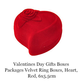 Valentines Day Gifts Boxes Packages Velvet Ring Boxes, Heart, Red, 6x5.5cm