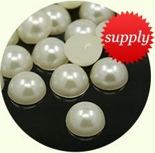 Acrylic Cabochons, Imitatiom Pearl, Half Round, Ivory, 6x3mm, about 5000pcs/bag