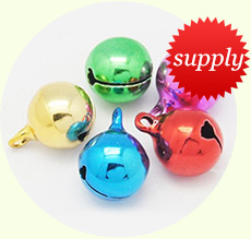 Mixed Color Round Brass Bell Pendants For Christmas, Size: about 12mm in diameter, 16mm long, hole: 2mm