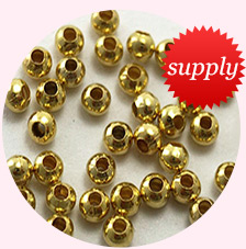 Iron Spacer Beads, Round, Golden, about 3.2mm in diameter, 3mm thick, hole: 1.2mm(
