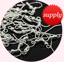 Iron Earring Hooks, Silver Color, Size: about 18mm long, 18mm wide, 0.8mm thick, hole: 2mm