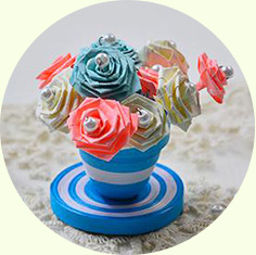 How to Make a Blue Quilling Paper Flower Pot and Flowers for Home Décor