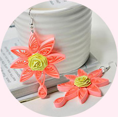 How to Make a Pair of Orange Quilling Paper Flower Earrings