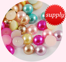 Pearl Acrylic Cabochons, Imitation Pearl, Half Round, Mixed Color, 4x2mm