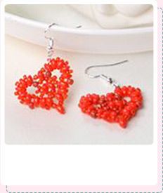 Pandahall Tutorial on How to Make a Pair of Red 2-Hole Seed Bead Heart Earrings