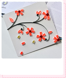 How to Make Lifelike Paper Quilling Plum Flowers Cards Step by Step