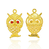 Golden Alloy Rhinestone Pendants, Owl for Halloween, Light Siam, 25x15x2mm, Hole: 2mm