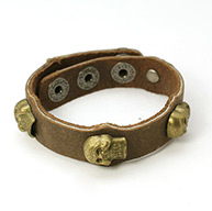 Punk Rock Leather Bracelets, Gothic Style, with Alloy Findings and Iron Clasps, Skull, for Halloween, Camel, 200x17mm