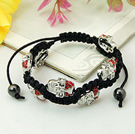 Fashion Shamballa Bracelets, with Alloy Rhinestones Skull Beads and Non-Magnetic Hematite Beads, for Halloween, Red, 60mm