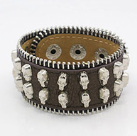PU Leather Studded Punk Rock Bracelets for Halloween, with Alloy Skull Findings, Mixed Color, 220x30mm