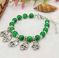 Fashion Glass Bead Bracelets, with Antique Silver Skull Charms, Nice for Halloween's Day, Green, 180mm