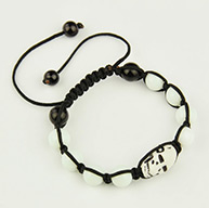 Fashion Shamballa Bracelets for Halloween, with Skull Antique Acrylic Beads, Baking Painted Glass Beads and Nylon Thread, White, 55~100mm