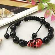 Fashion Shamballa Bracelets for Halloween, with Skull Antique Acrylic Beads, Baking Painted Glass Beads and Nylon Thread, Red, 55~100mm