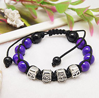 Fashion Shamballa Bracelets for Halloween, with Baking Painted Glass Beads, Human Tibetan Style Beads and Nylon Thread, BlueViolet, 60~90mm long