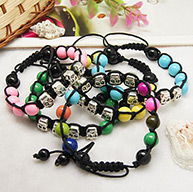 Fashion Shamballa Bracelets for Halloween, with Baking Painted Glass Beads, Human Tibetan Style Beads and Nylon Thread, Mixed Color, 60~90mm long